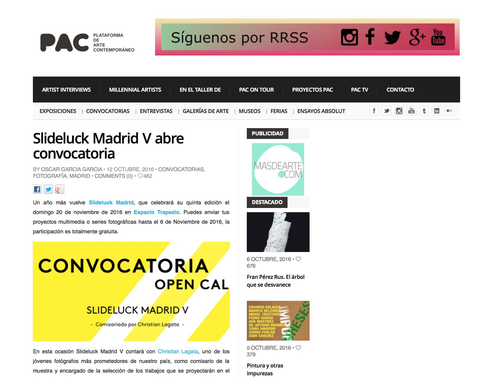 Plataforma de Arte Contemporáneo – Slideluck Madrid V